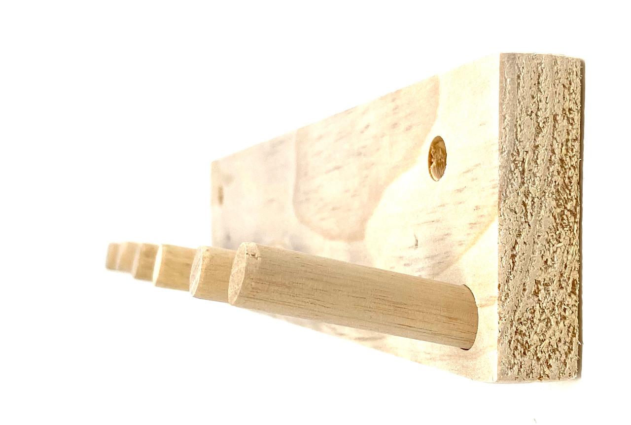 Wood Full Size Bat Rack Display 3-5 Bats Natural Unpainted Storage Wall Mount