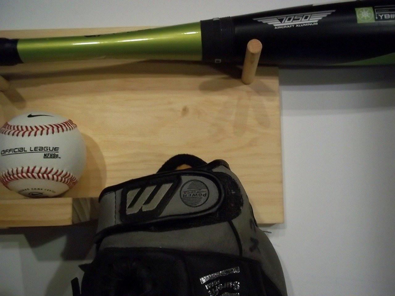 Full Size Baseball Bat Ball Glove Combination Rack Display Case Natural Finish Wall Mount