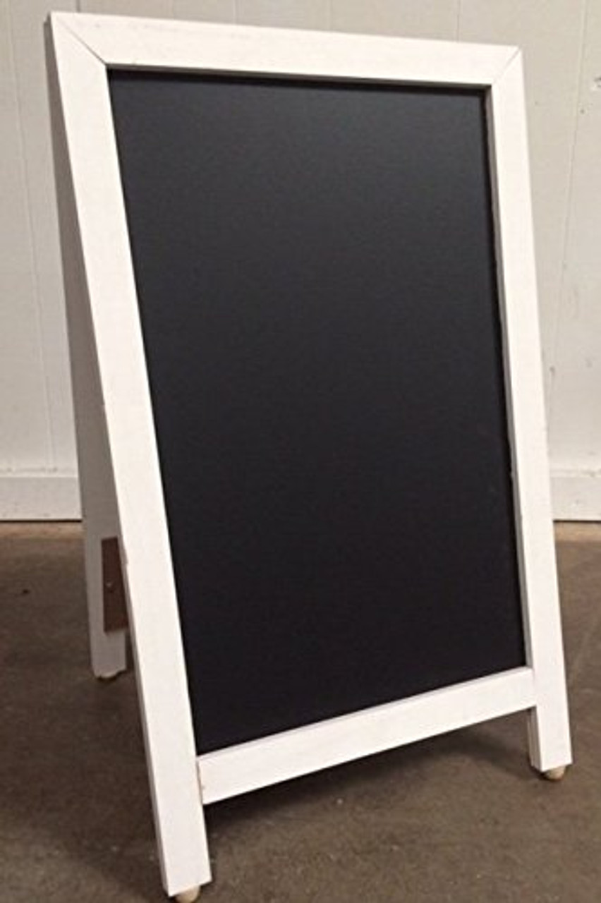 Sidewalk Display Sign 18 X 29 Black Chalkboard Hardwood White Frame