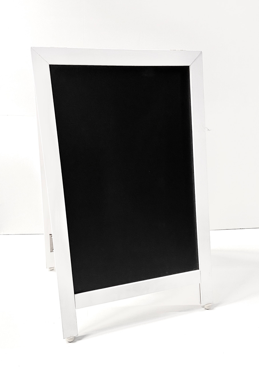 Sidewalk Display Sign 18 X 29 Black Chalkboard Hardwood White Frame