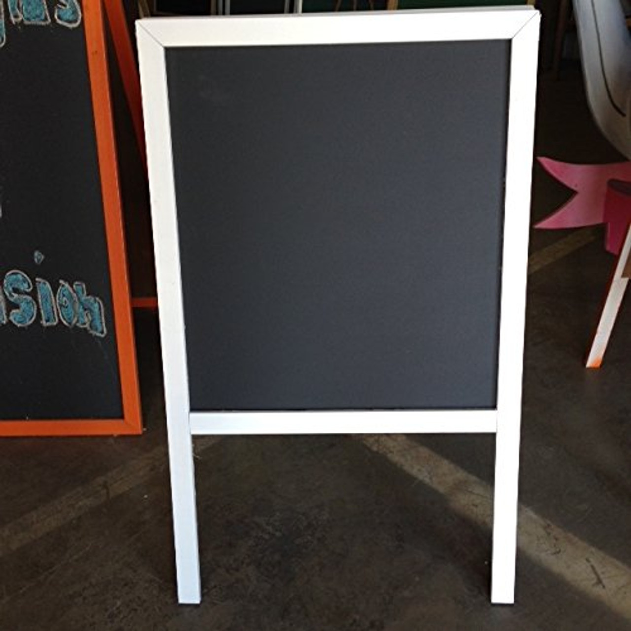 Sidewalk Display Sign Announcement Board 39 X 24 Black Chalkboard White Wood Frame Double Sided Bridal Boutique Wedding Banquet
