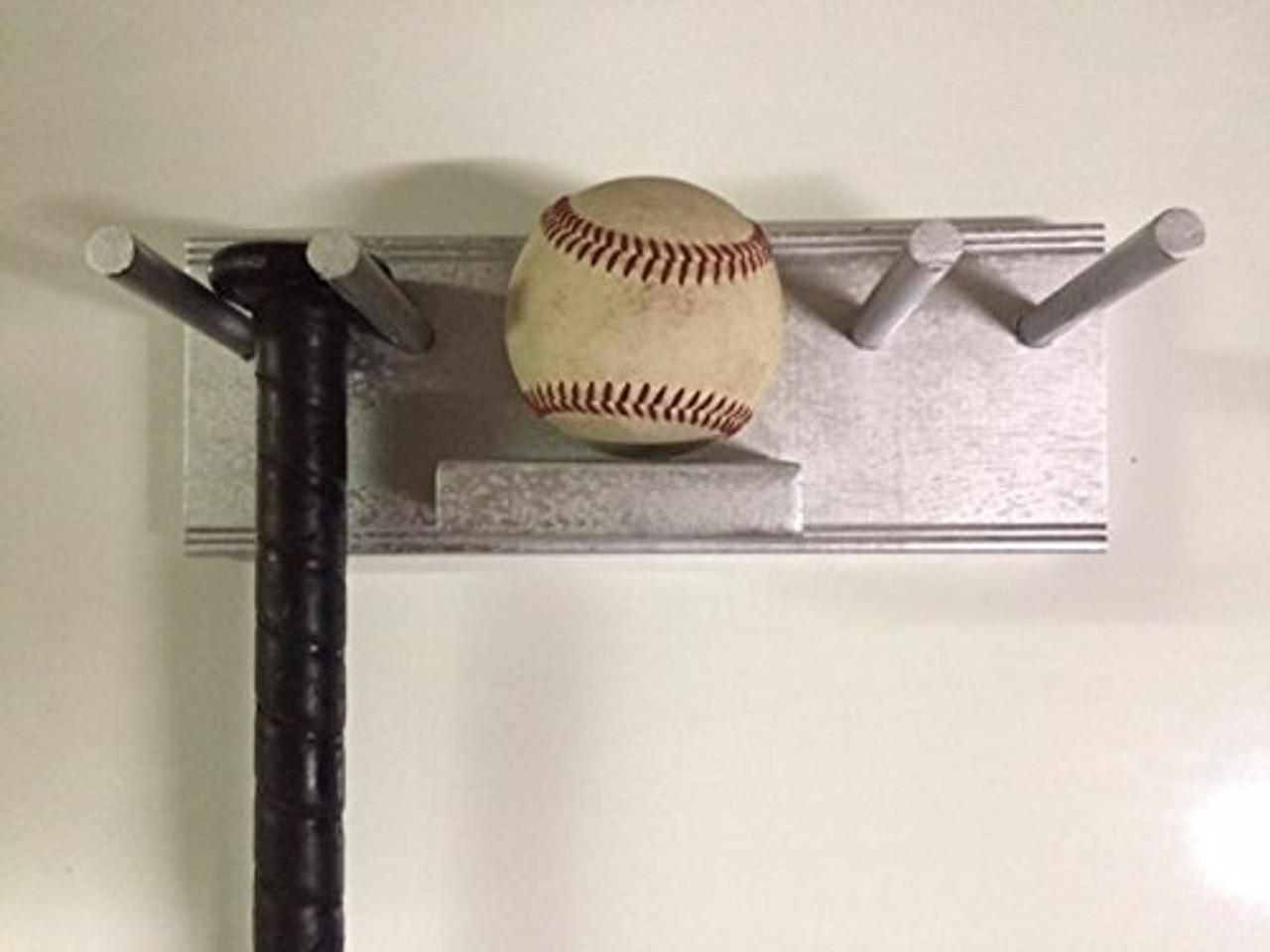 All Purpose Multi Use Storage Display Rack Silver Baseball Bats Lacrosse Sticks Tennis Racket and Ball BBS