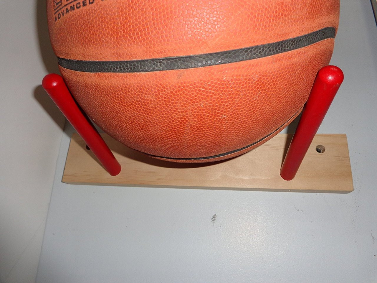 Wood Ball Rack Basketball Football Utility Storage Red Dowels Display Holder