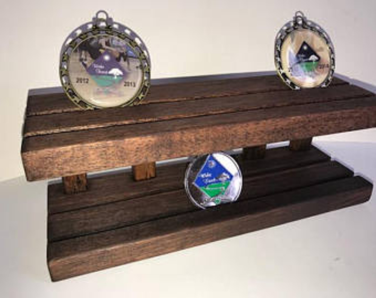 Coin Holder Stand Disdplay Military Challenge Coins Dark Stain 2 Rows 2 Tiered