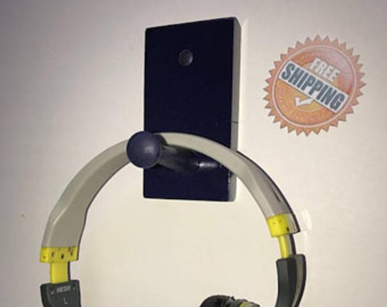 Utility Hook Rack Display Holder Single Peg Blue Hat Cap Headphones Premium Wood