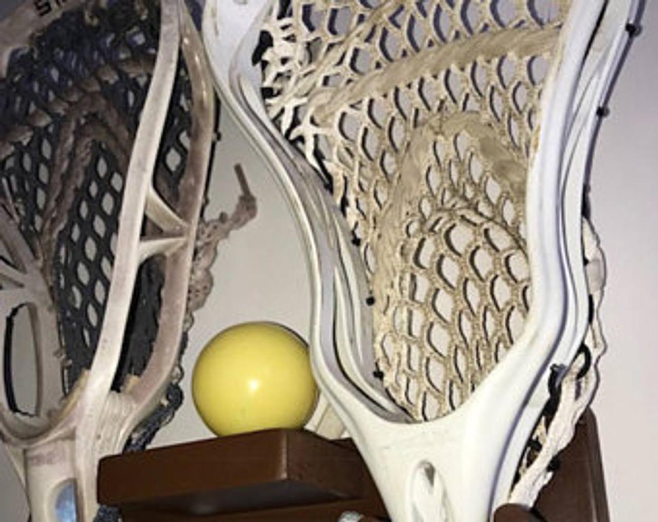Lacrosse Stick Display Holder Decal Wood Brown 2 Sticks 1 Ball