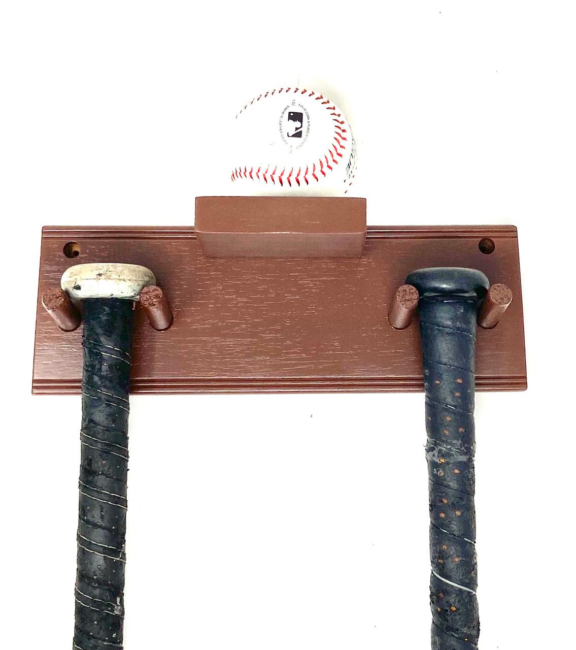 Baseball Bat Rack Display Holder Wall Mount Full Size 2 Bats 1 Ball