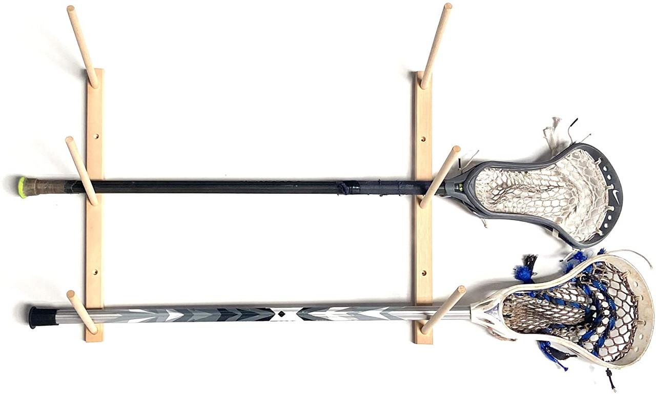 Sports Display Holder Premium Wood Utility Rack Baseball Bats Sticks 3 Pegs
