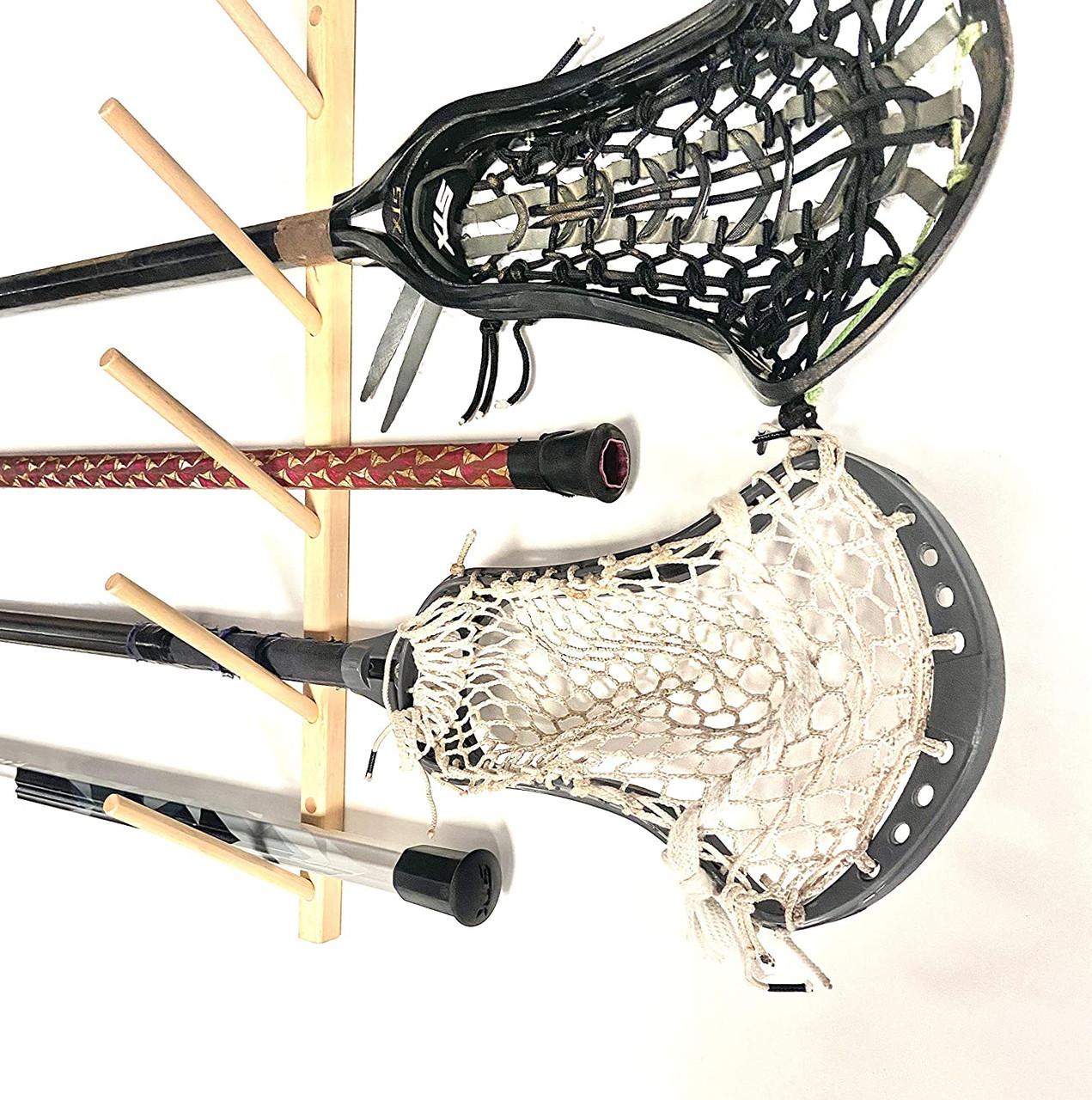 Sports Display Holder Utility Rack Baseball Bats Sticks 5 Pegs Wood Sports