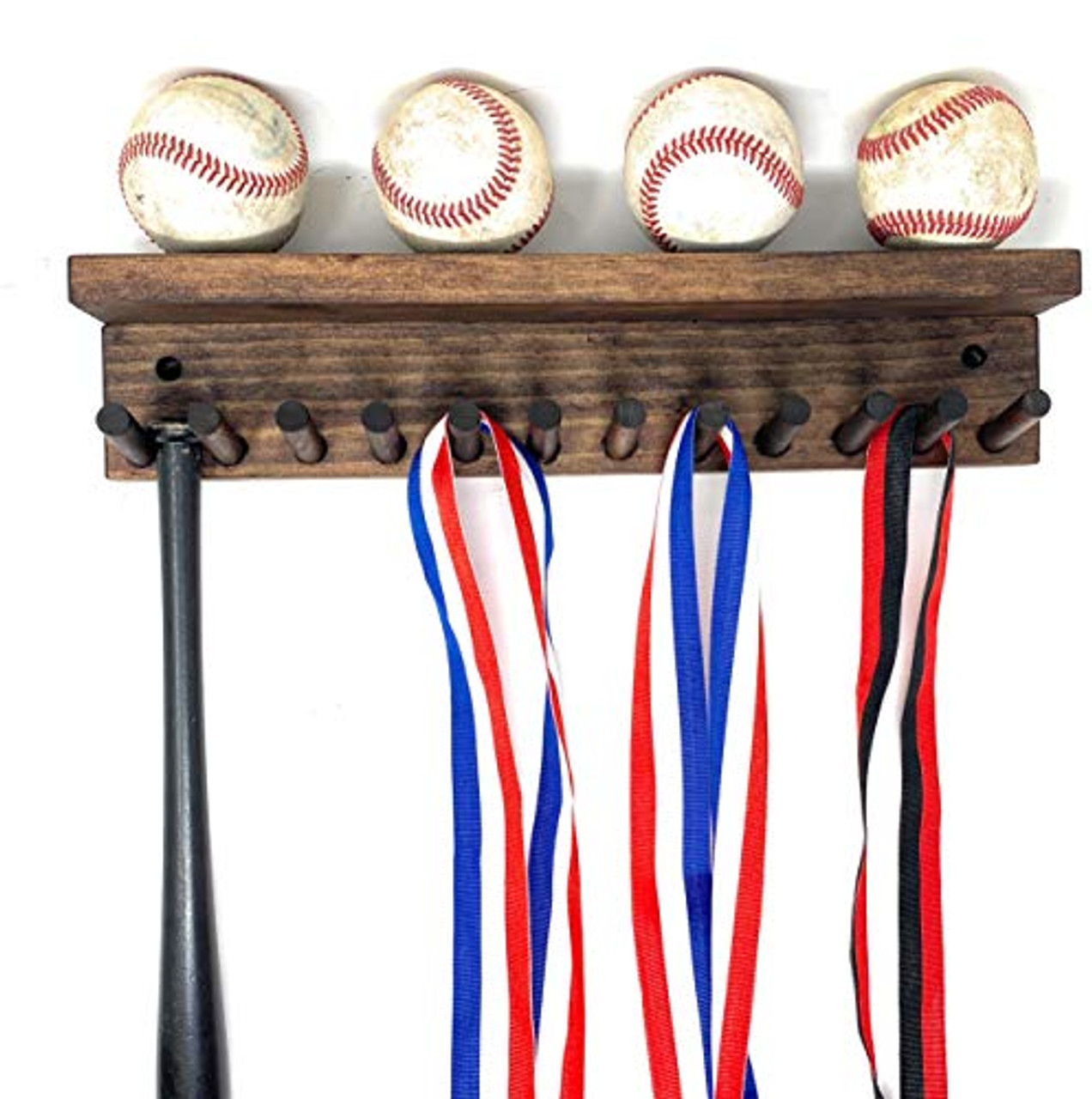 Award Medal Display Rack And Trophy Shelf 12 Medals Ball Holder Made in the USA
