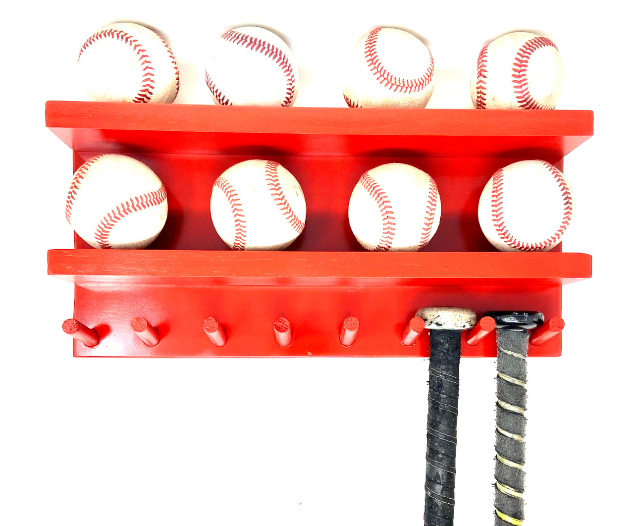 Baseball Bat Rack Display Holder Wall Mount Wood Blue 7 Bats 8 Balls