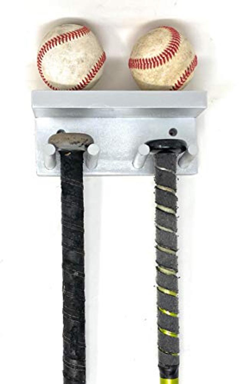 MWCSPORTS Baseball/Softball Bat Rack Holder Holds 3 Full Size Bats and 2 Balls Natural Wood Display Trophy Awards …