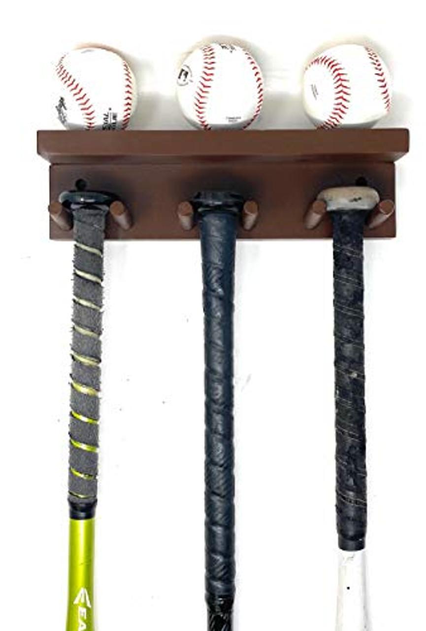 MWCSPORTS Baseball/Softball Bat Rack Holds 5 Full Size Bats and 3 Balls Natural Wood …