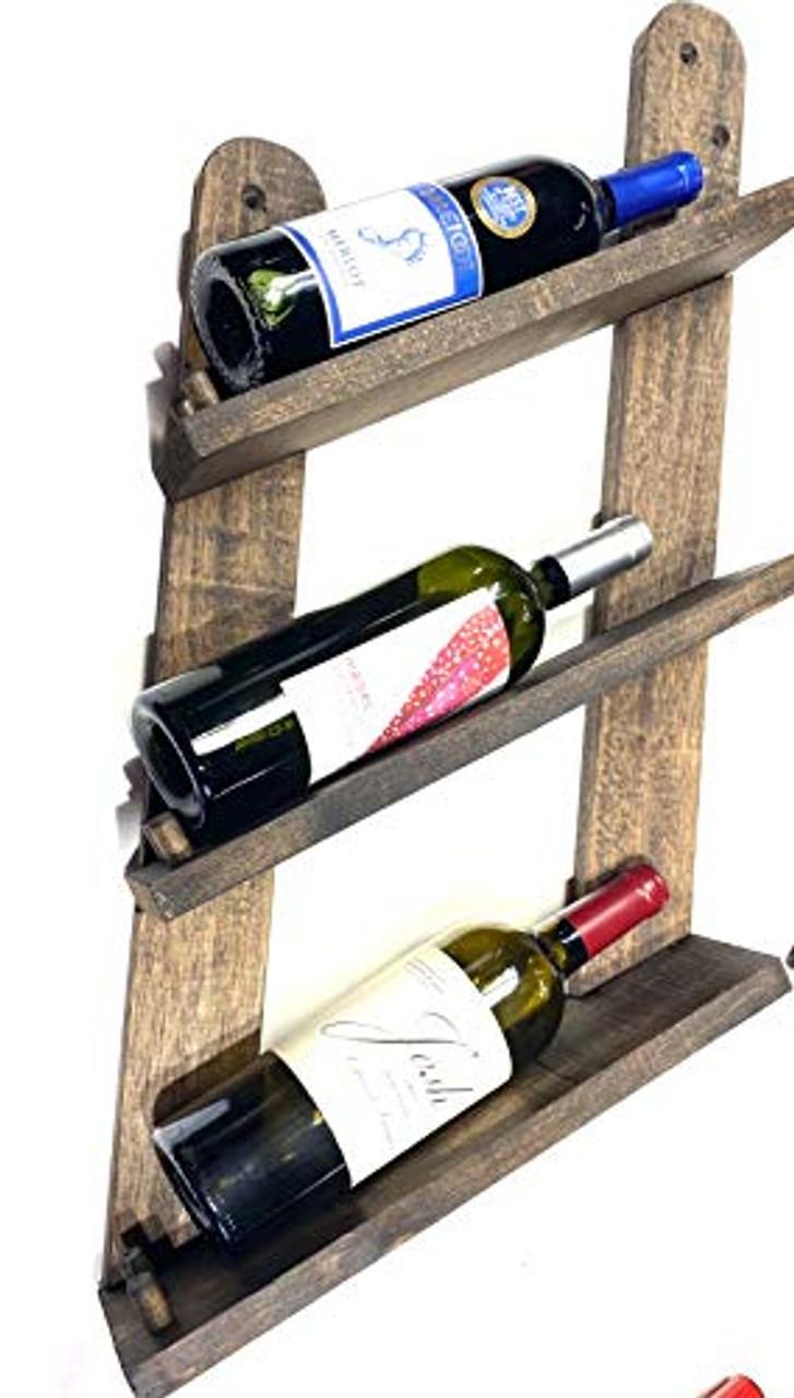 Wine Rack Distressed Wood Dark Finish Rustic Design Reclaimed …