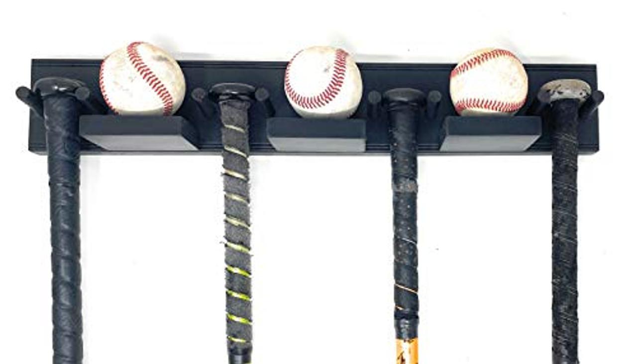 MWCSPORTS Baseball Bat Rack Holds 4 Bats 3 Balls …