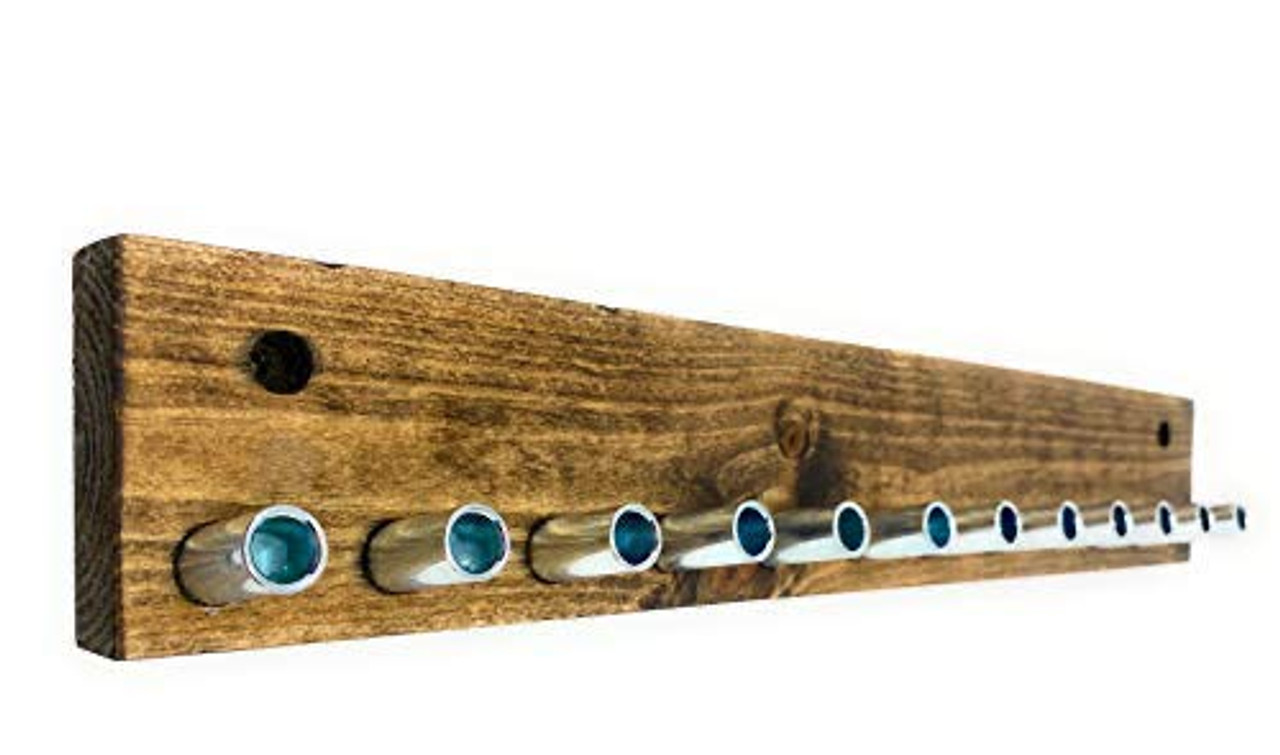 7, 12 Peg Distressed Wood Rack For Coat Key Hat and More
