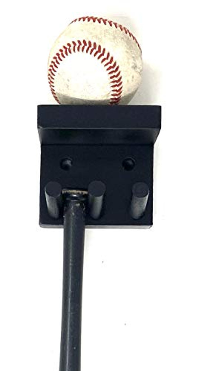 Baseball Mini Bat Rack Display 2 Bats Black 1 Ball Wood Holder Hang Wall Mount Storage Collectible Custom