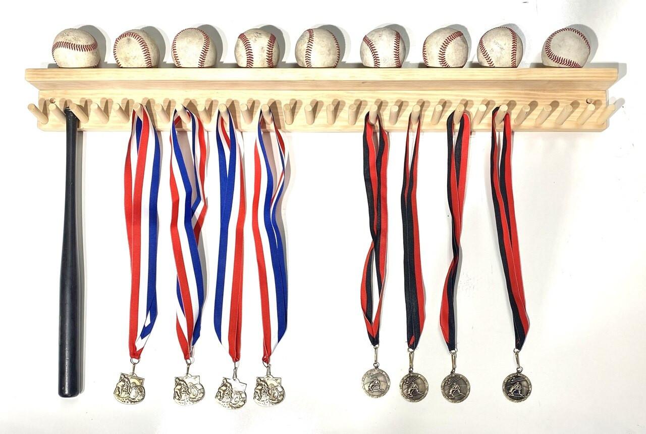 MWCSPORTS Baseball Bat Rack 9 Ball Holder Shelf Wood 27 Mini Collectable Bats (Natural, 36) …
