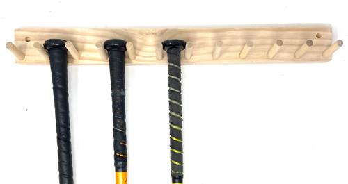 Natural Wood Large Baseball Bat Rack 6-11 Bats Holder Storage