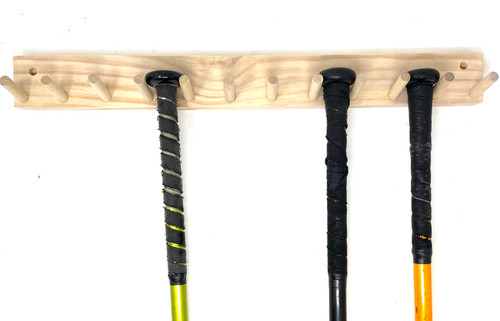 Natural Wood Baseball Softball Bat Rack 5-9 Full Size Bats