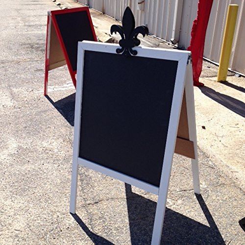Sidewalk Display Sign Easel 39 X 24 Black Chlakboard Hardwood Frame White with Black Wood Decal