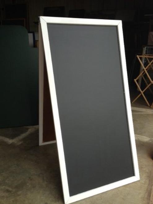 Black Chalkboard Sidewalk Display Sign 48 X 24 Double Sided Wood Frame White