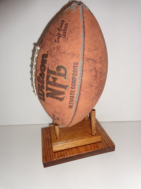 Wood Mahogany Collectible Football Display Game Ball Holder Mantle Shelf