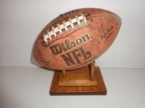 Wood Mahogany Collectible Football Display Game Ball Holder Mantle Shelf