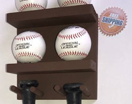 Baseball Bat Rack Display Holder Wall Mount Brown 3 Full Size Bats 4 Baseballs
