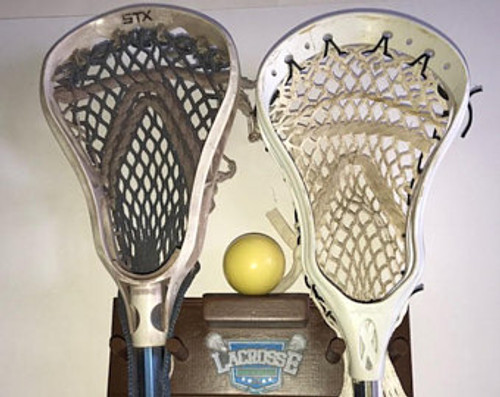 Lacrosse Stick Display Holder Decal Wood Brown 2 Sticks 1 Ball