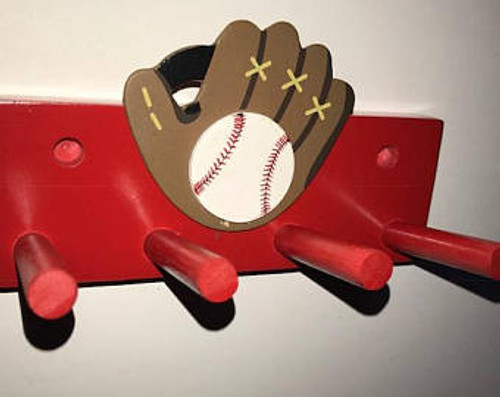 Baseball Bat Rack Display Holder Red Wall Mount with Glove Decal 2 Bats Softball