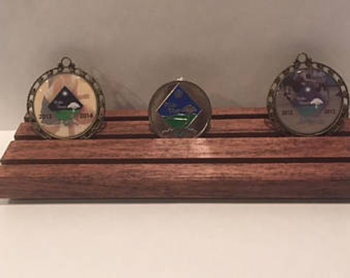 Military Challenge Coin Holder Stand Display Dark Stain 3 Row Tiered Rack