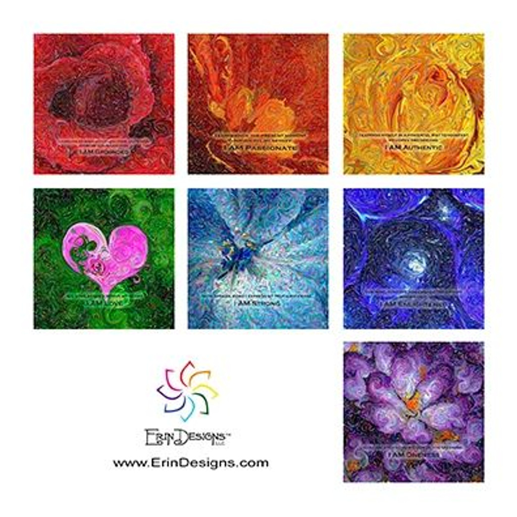 Organic Yoga Energy Art - Set of 7 Notecards