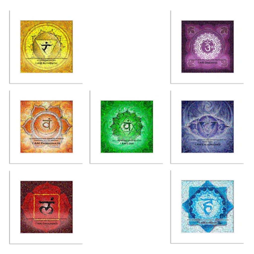Traditional Yoga Energy Art-Set of 7 Matted Prints