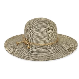 METALLIC TWEED HAT W/ ROPE TRIM