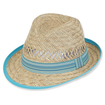 RUSH STRAW W/RIBBON BRIM 2""