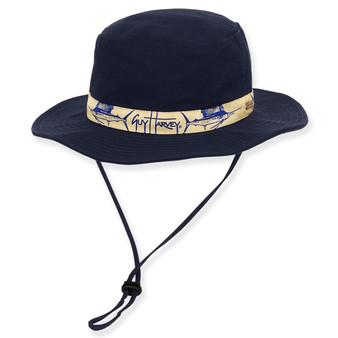 """GUY HARVEY HAT W/ SAILFISH EMB & RIBBON TRIM - Brim 2.75"""""""