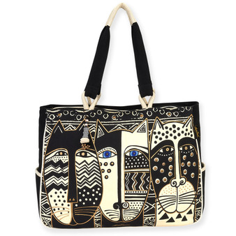 "WILD CAT BLACK & WHITE | OVERSIZED TOTE | 19.5"" X 5"" X 15"""