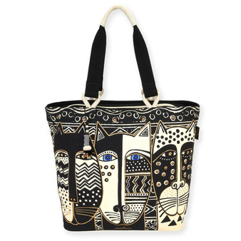 "WILD CAT BLACK & WHITE | SHOULDER TOTE | 20.5"" X 6.5"" X 15"""