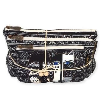 "WILD CAT BLACK & WHITE | Set of 3 Cosmetic Bags | Small - 7.5"" x 4.5"" | Medium - 9.5"" x 5"" | Large - 10.5"" x 6.5"""