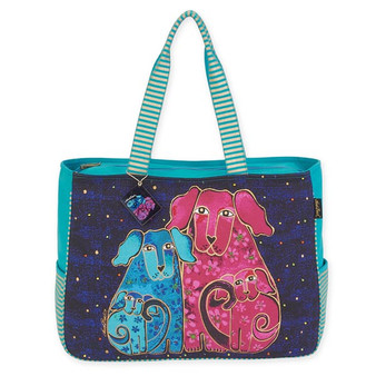 "BLOSSOMING PUPS OVERSIZED TOTE | 20"" x 6"" x 15.5"""