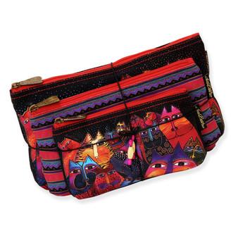 "Fantasticats | Set of 3 Cosmetic Bags | Small - 7.5"" x 4.25"" | Medium - 9"" x 5"" | Large - 10.25"" x 6"""