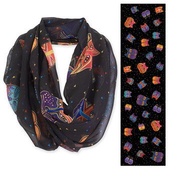 "BLACK, FELINE FACES INFINITY SCARF | 19.5""x 35"" 