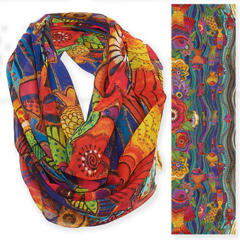 "FISH & WAVES INFINITY SCARF  | 19.5""x 35"" 
