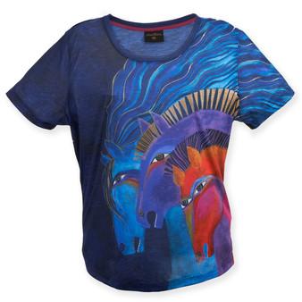 WILD HORSES OF FIRE, BLUE T-SHIRT
