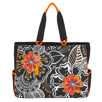 "White On Black Floral Oversized Tote| 19.5"" x 5"" x 15"""