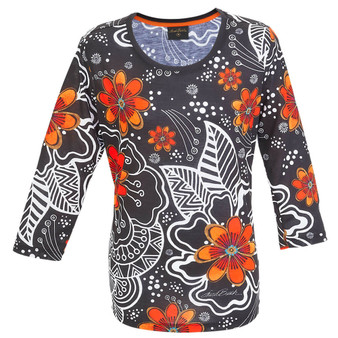 White on Black Floral 3/4 Sleeve T-SHIRT ($37.00-$42.00)
