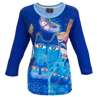 Indigo Cats 3/4 Sleeve T-SHIRT ($37.00-$42.00)