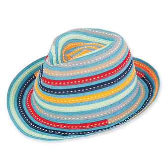 Luciana | Young Girl Ribbon Fedora | Turquoise