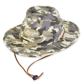 GUY HARVEY CAMO COTTON SAFARI HAT W/DRAWSTRING CHIN CORD